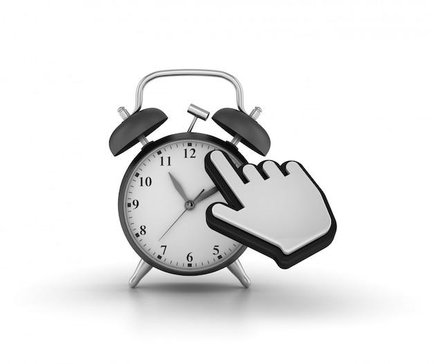Illustratie van klok met computercursor weergeven
