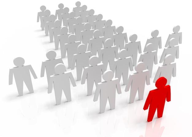 Illustratie van leider leidt het team vooruit. rode en witte mensen