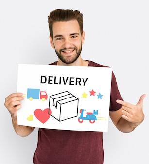 Illustratie van levering van transportpakketten
