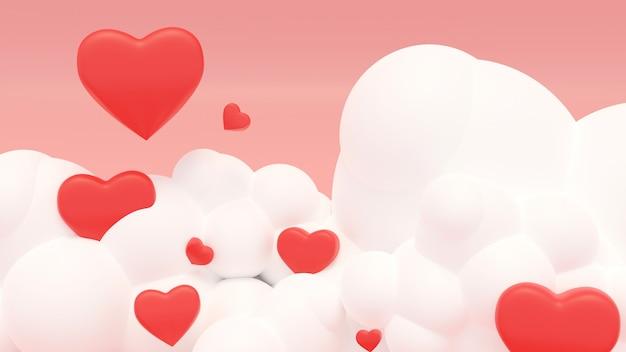 Illustratie van liefde en valentijn dag, rood hart drijven op de roze lucht