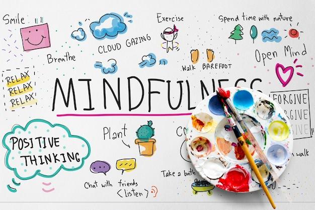 Illustratie van mindfulness vrijetijdskunstactiviteit