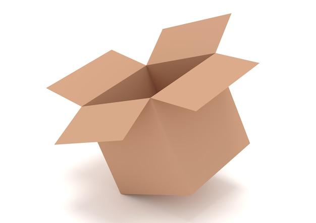 Illustratie van open bruine doos die op wit wordt geïsoleerd