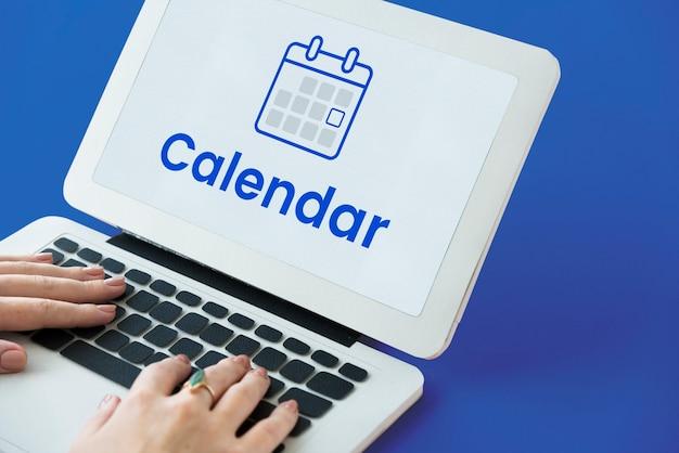 Illustratie van persoonlijke organizerkalender op laptop
