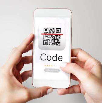 Illustratie van qr-toepassing voor snelle responscode