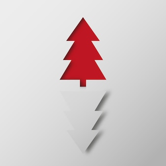 Illustratie van rode en witte kerstbomen op grijze achtergrond