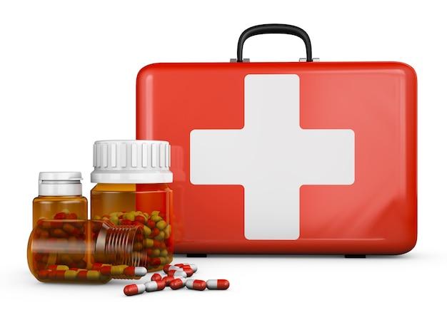 Illustratie van rode koffer met flessen op wit