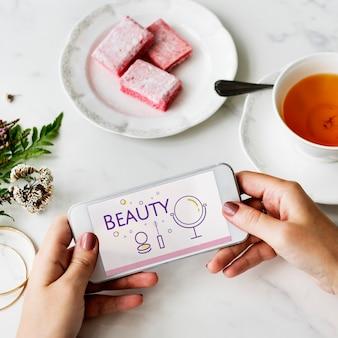 Illustratie van schoonheidscosmetica make-over huidverzorging op mobiele telefoon