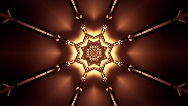 Illustratie van stervormige tunnel die met helder gouden neonlicht glinstert