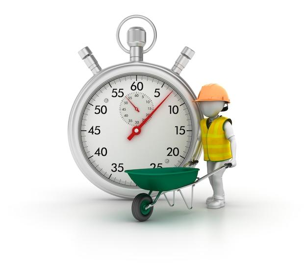 Illustratie van stopwatch met stripfiguur werknemer weergeven