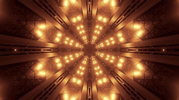 Illustratie van symmetrisch stervormig ornament dat met glinsterende heldere gouden neonlichten wordt gevormd