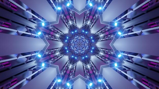 Illustratie van symmetrische futuristische tunnel met stervormig ornament en felle neonlichten