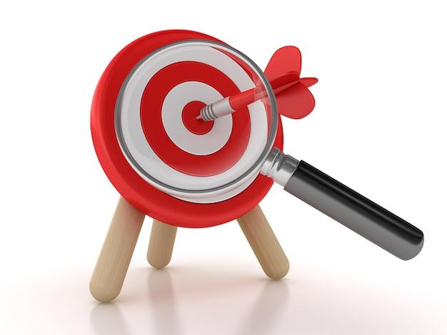 Illustratie van target en dart met vergrootglas