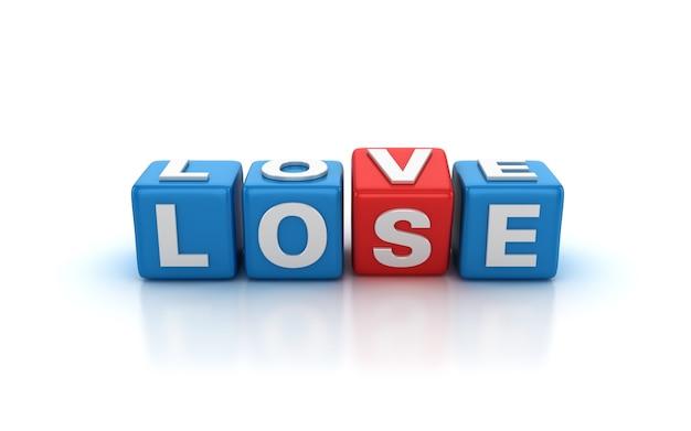 Illustratie van tegelblokken weergeven die veranderen van verliezen naar liefdeswoorden