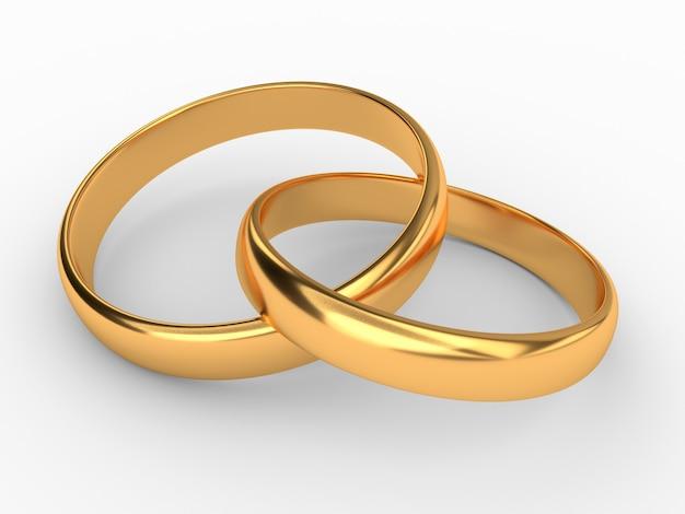 Illustratie van twee verbonden gouden trouwringen die op wit worden geïsoleerd