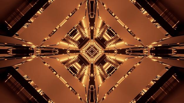 Illustratie van verschillende gouden lichten in beweging die in één richting stromen