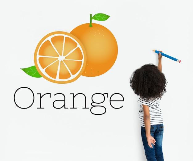 Illustratie van vitamine voedzaam oranje gezond voedsel