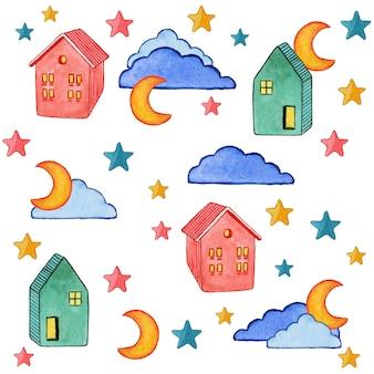 Illustratie van wolkenhuizen en sterrenwaterverf die op wit wordt geschilderd