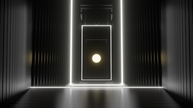 Illustratie voor reclame en behang in sci fi en technologie-innovatie scèneweergave in decoratief concept