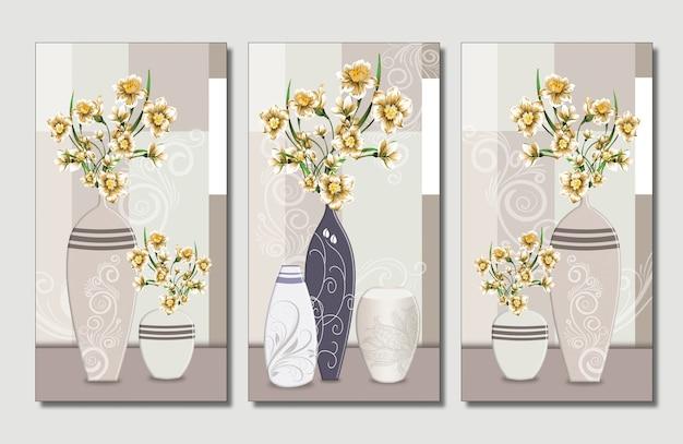 Illustratievaas met gouden bloemen op lichte achtergrond.