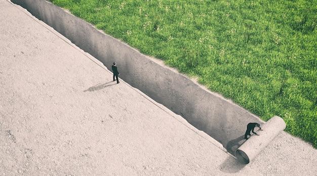 Ilustration van een man die naar de andere kant van de kloof kijkt, 3d-rendering
