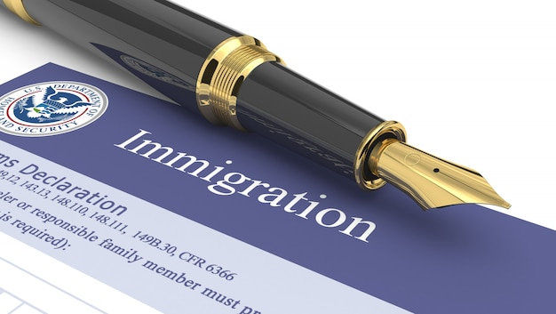 Immigratiedocument 3d illustratie