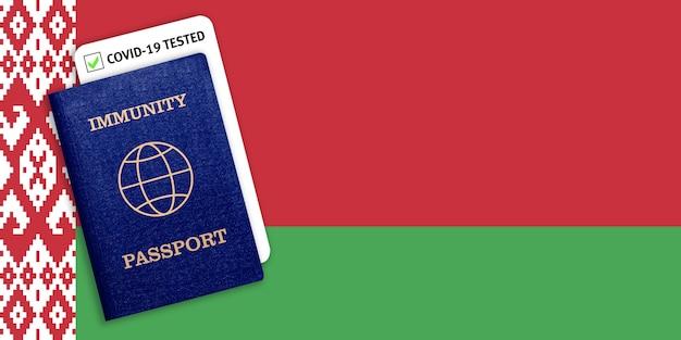 Immuniteitspaspoort op de nationale vlag van wit-rusland