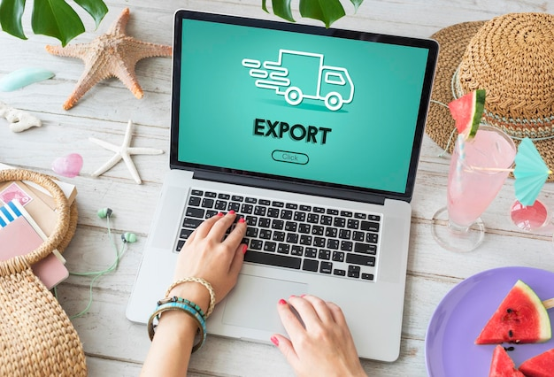 Import export verzending vrachtwagen grafisch concept
