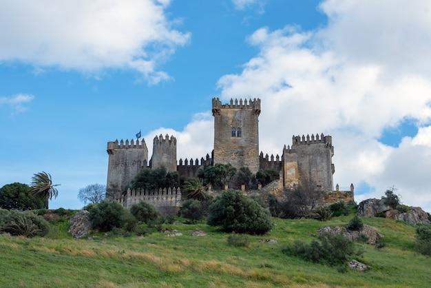 Imposant middeleeuws kasteel van almodovar del rio op een heuvel en een mooie blauwe lucht en witte wolken