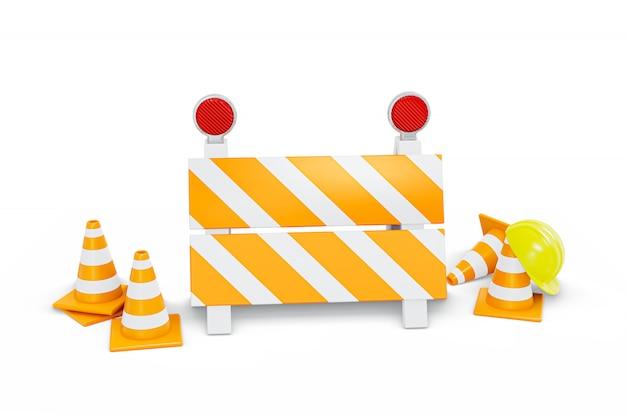 In aanbouw verkeerskegels en hek met bouwvakker