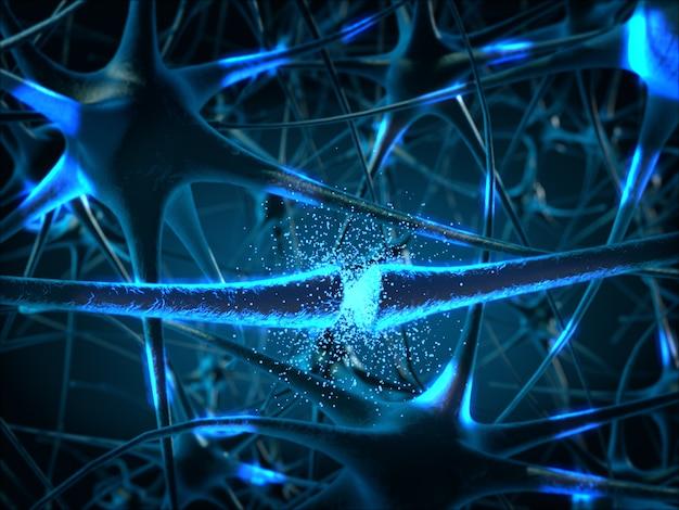 In de hersenen. concept neuronen en zenuwstelsel. 3d-rendering.