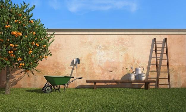 In de tuin werken