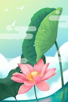 In de zomer worden de lotus- en lotusbladeren op het meer in rook gehuld.