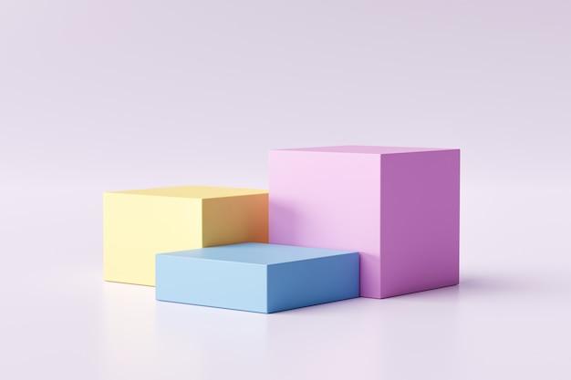 In drie stappen van de vertoning van het pastelkleurproduct op moderne achtergrond met lege showcase voor het tonen. leeg voetstuk of podiumplatform. 3d-weergave.