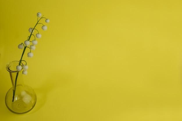 In een kleine glazen vaas aan de linkerkant staan takken van lelietje-van-dalen tegen de achtergrond.
