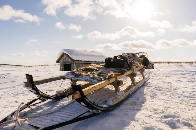 In het verre koude noorden op witte sneeuw zijn er sleeën