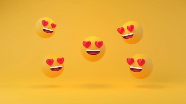 In liefde emoticon geel hoofd op gele studio achtergrond 3d-rendering Premium Foto