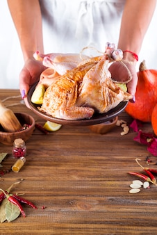 In vrouwelijke handen de kip in saus en kruiden op een bord