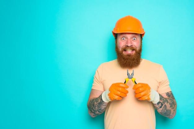Incompetente werknemer is onzeker over zijn werk cyaan achtergrond
