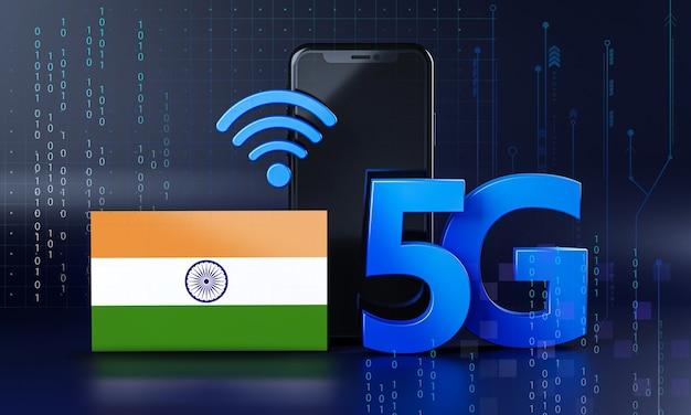 India klaar voor 5g-verbindingsconcept. 3d-rendering smartphone technische achtergrond