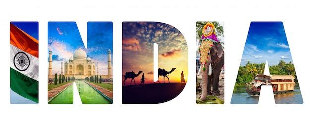 India tekst met indiase afbeeldingen