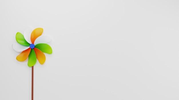 India vlag kleur pinwheel in 3d render en kopieer ruimte op een grijze achtergrond.