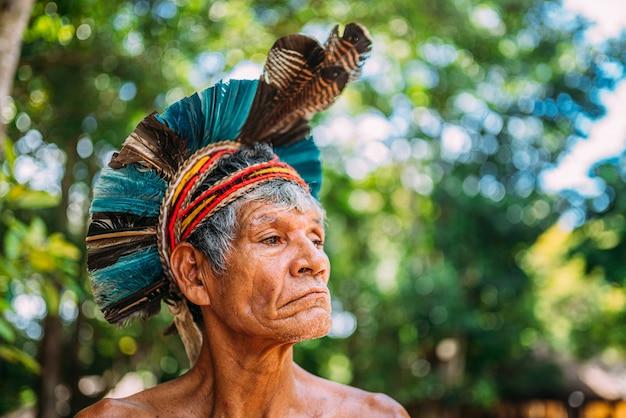 Indiaan van de pataxã³ stam, met veren hoofdtooi. bejaarde braziliaanse indiaan die naar rechts kijkt