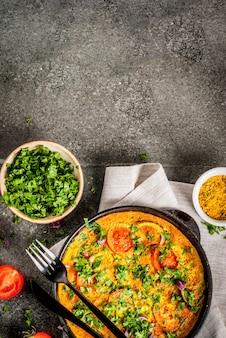 Indiaas eten recepten, masala omelet met verse groenten