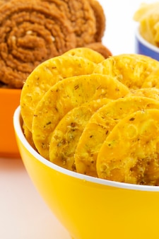 Indian street snack masala khari papdi met besan papri of chakli