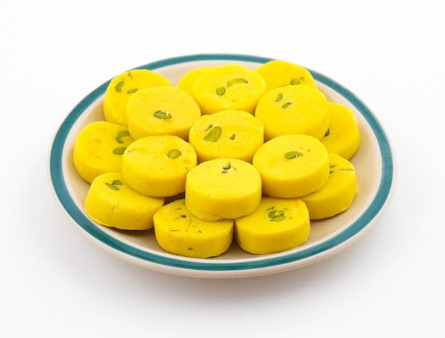 Indian sweet food kesar peda
