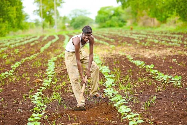 Indiase boer op het veld