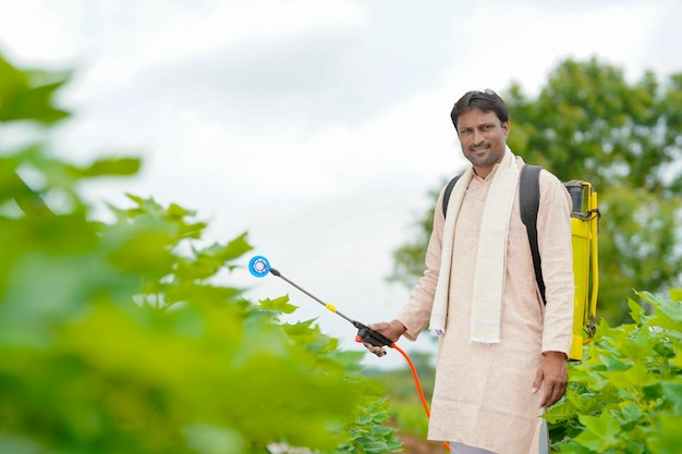 Indiase boer spuit pesticide op katoenveld.