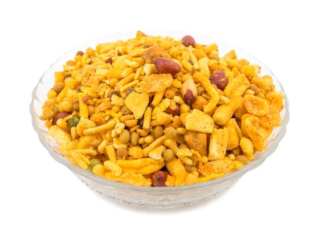 Indiase heerlijke en knapperige mix namkeen eten