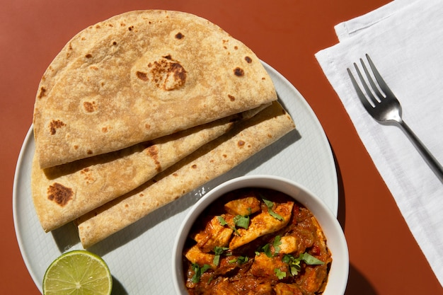 Indiase smakelijke roti-compositie