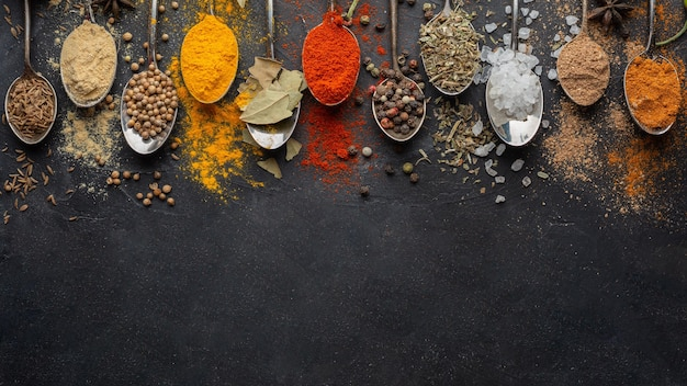 Indiase specerijen met kopie-ruimte boven weergave